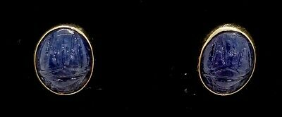 Antique Deco Egyptian Revival 14k Gold Carved Lapis Lazuli Scarab Post Earrings