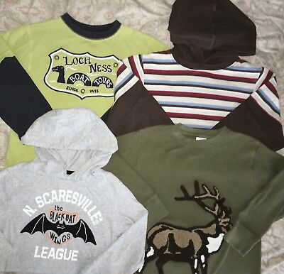Gymboree Long Sleeve Hoodies Hooded LOT Lochness Scareville Elk Super Soft 5-6
