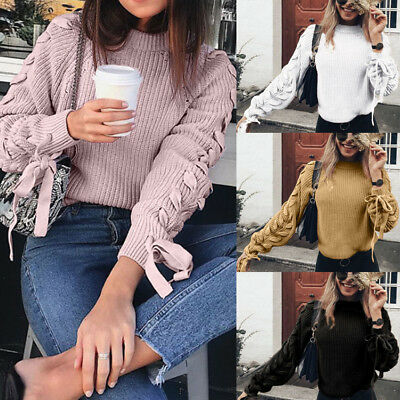 Longues Pull Loose Tricot Col Unie Couleur V Manches CnFemme W9E2IDYH