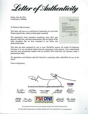 John Wayne signed letter dated 1976 Legendary Actor PSA Authenticated