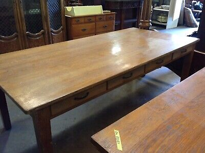 Antique 8 drawer Oak Table Dining Farm Conference Library Desk Arts Crafts