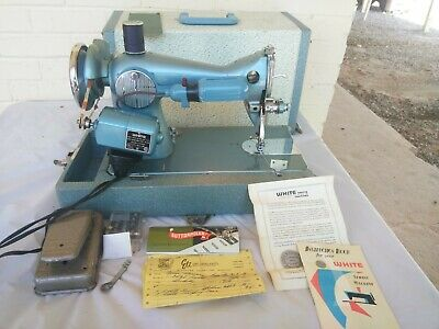 Vintage WHITE Rotary Sewing Machine #658 E-6354 Teal Retro Turquoise