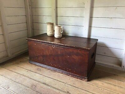 Antique Victorian Pine Blanket Box Trunk Coffee Table Toy Box