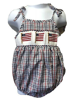 Unisex Baby Boys Girls 6M Silly Goose Hand Smocked Bubble Romper Flags July 4th