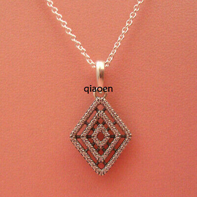 925 Sterling Silver Free Adjust 60cm Geometric Lines Clear CZ Necklace Pendant