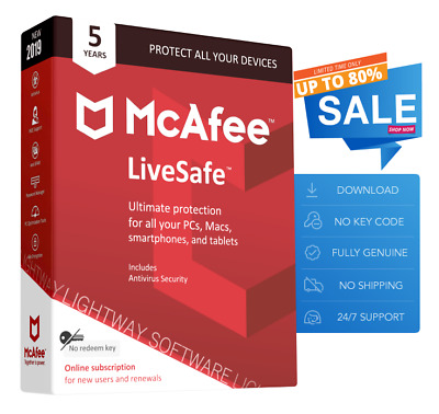 McAfee LiveSafe 2019 - Unlimited devices, 5 Years (New or Renewal) (Download)