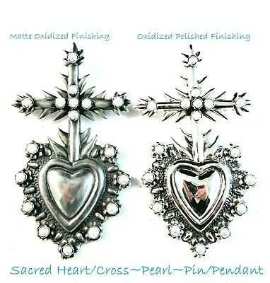 "Maria Belen ~ Pearl Sacred Heart/Cross~925 Pin OR Pendant~4"" Tall~ 2 Finishes!"