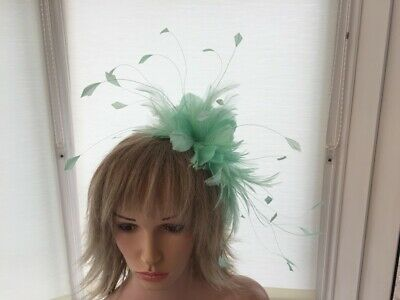 Mint Green  Feather Fascinator-Hat Wedding,Ascot Feathery Mother Of Bride/Groom