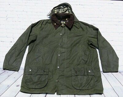 002459b2abbef BARBOUR Beaufort A150 Green Oil Wax Hunting Riding Jacket Coat C50 127CM w/  Hood