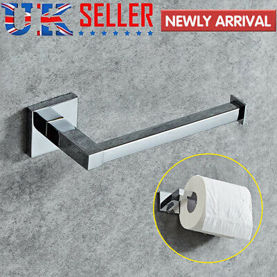 Modern Square Toilet Roll Holder Bathroom Wall Mounted Stainless Steel Paper UK