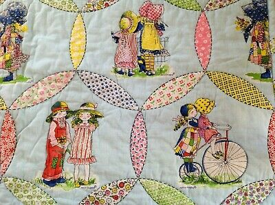 "Vintage 1960s Holly Hobbie Quilt Retro Handmade 42""x51"" Childs Crib Baby"
