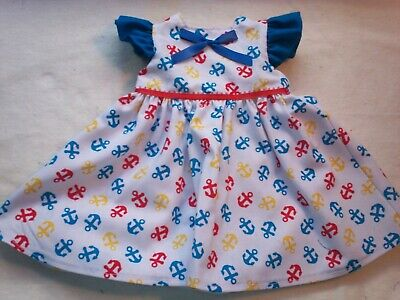 "Fits American Girl 18"" Doll Clothes - Patriotic Anchors Ruffled Sleeve Dress"