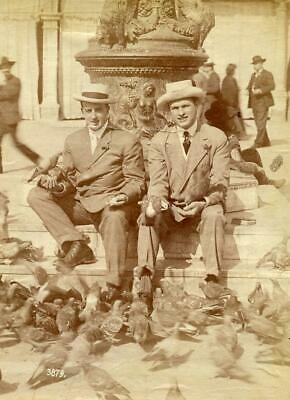 BT129 Vintage Photo PIGEONS, TWO MEN CITY STATUE SCENE c Early 1900's