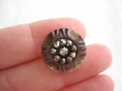 "Vintage Small 11/16"" Smokey MOP Mother Of Pearl Shell Button, Cut Steels - PP22"