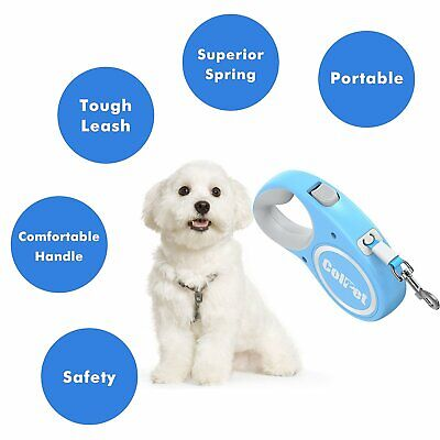 ColPet Retractable 16ft Automatic Dog Walking Leash  for dog up to 110bl Blue