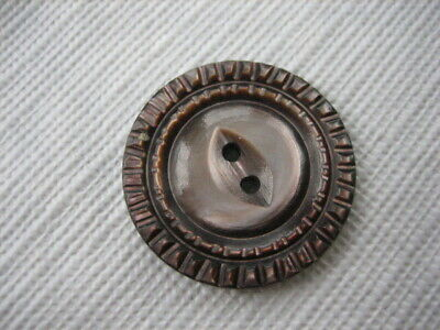 """Vintage Medium 1"""" Smokey Mother Of Pearl MOP Shell Carved Fish Eye Button PD20"""