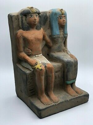 Large Egyptian Statue Egypt Antiques Ahmose Ii And Queen Nefertari 6Kg Stone Bc