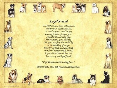 """""""Loyal Friend"""" Memorial Poem for the Loss of a Pet Dog - Personalized"""
