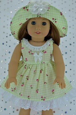 """Doll Clothes For 18""""American Girl~Our Generation~JournyGINGHAM OVERLAY DRESS~HAT"""