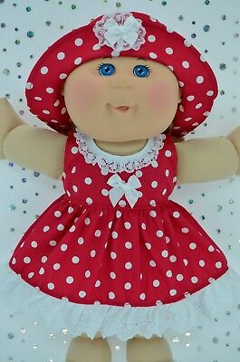 "Play n Wear Dolls Clothes To Fit 14"" Cabbage Patch  RED POLKA DOT DRESS~HAT"