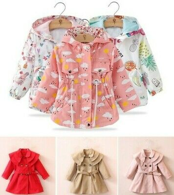 Baby Girls Hooded Jacket Winter Trench Coat Kids Toddler Outerwear Windbreaker