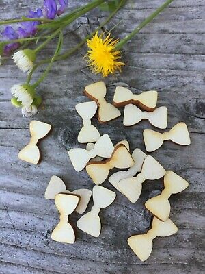 20 small BOW SHAPES PLAIN UNPAINTED BLANK WOODEN EMBELLISHMENTS CRAFTcard making