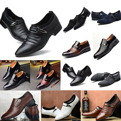 Mens Pointed Toe Slip On Loafers Buckle Business Work Comfy Dress Shoes Hot Sale