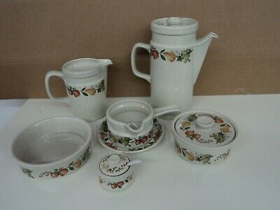Selection of Wedgwood Quince Tableware - Coffee Pot, Jug,Gravy Boat, Mustard Pot