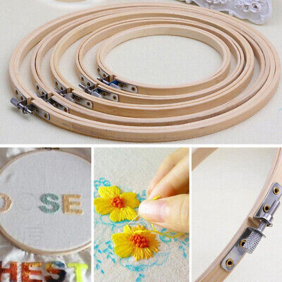 1pc Wood Bamboo Hoop Ring Frame Sew Embroidery Cross Stitch Wreath Craft Tool