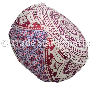 Indian Ombre Mandala Ottoman Pouf Cover Round Floor Pouffe Ethnic Footstool