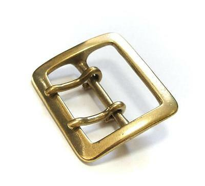 45mm SOLID BRASS HEAVY SQUARE BUCKLE Double Prong Garrison Leather Belt Japan