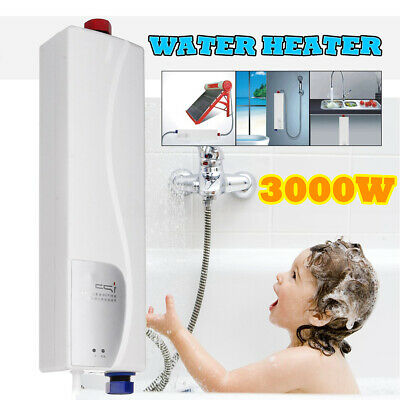 3000W Tankless Electric Shower Instant Kitchen Bathroom Hot Water Heater System