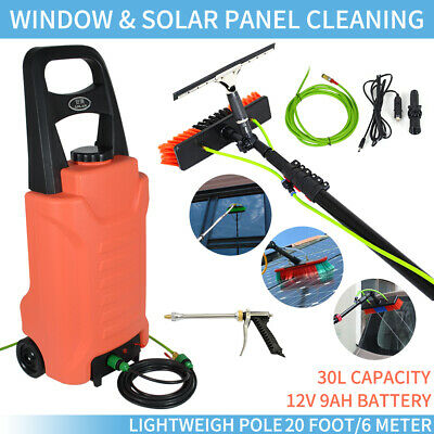 30L Water Tank Window Cleaning Trolley+20ft Telescopic Water Fed Cleaning Pole