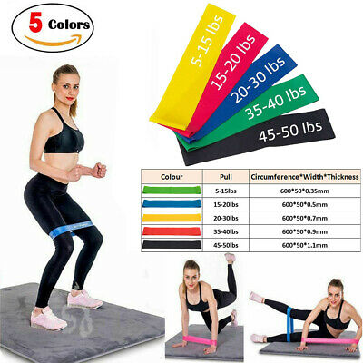 Fitness Yoga Booty Band Resistance Bands Loop Set of 5 Exercise Workout CrossFit