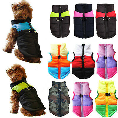 Pet Puppy Dog Cat Waterproof Windbreaker Padded Coat Jacket Vest Clothes Apparel