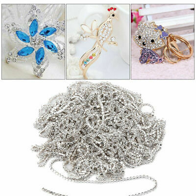 10yards 2mm Rhinestone Glass Silver Close Cup Chain Claw Chain Trims Jewelry DIY