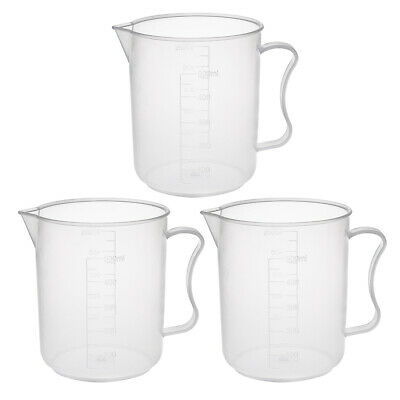 3pcs Laboratory Clear 500mL PP Plastic Graduated Measuring Cup Handled Beaker