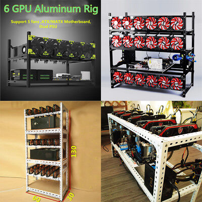 4-18GPU Open Miner Frame Aluminum Stackable Air Mining Rig Case BTC ETH