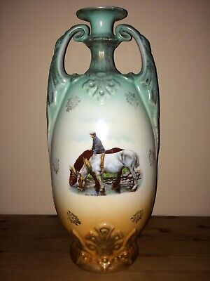 Antique Circa 19th Cent Large Vase Victoria Austria - Horses After The Days Work