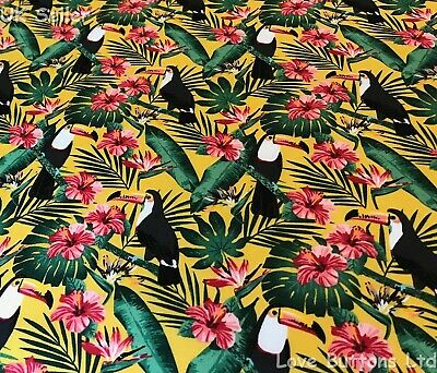 Palm Tree Exotic Flower Print meter Rose /& Hubble 100/% Cotton Poplin Toucan