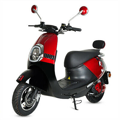 Moto scooter electrica matriculable vespa 800w bateria matricula color roja