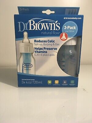 DR BROWN'S Anti Colic 3 Pack 4 OZ. NATURAL FLOW  BABY BOTTLES