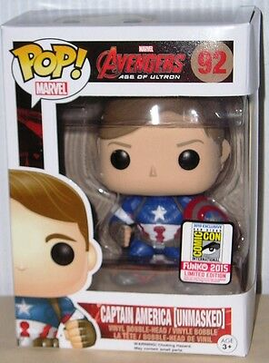 FUNKO POP Marvel 2015 SDCC AGE OF ULTRON CAPTAIN AMERICA (Unmasked) #92 IN STOCK