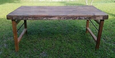 """Primitive Country Farm Table Dining Dinner Rustic Folding Legs 69"""" Reclaimed"""