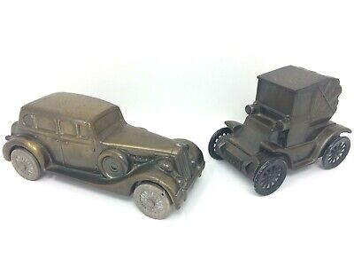 Pair Vintage Banthrico Toy Metal Car Banks Lot 1937 Packard V12 & 1900 Ford