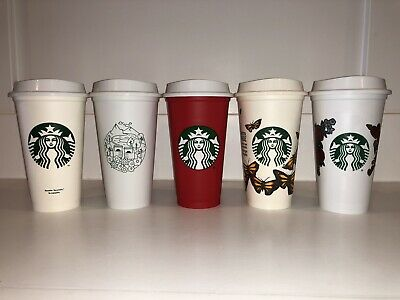 Starbucks Reusable Travel Tumbler To Go Cups W/ Lids Red Limited Lot Butterflies