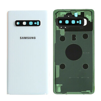 White Samsung Galaxy S10 Plus Back Glass Battery Cover replacement +Camera Lens