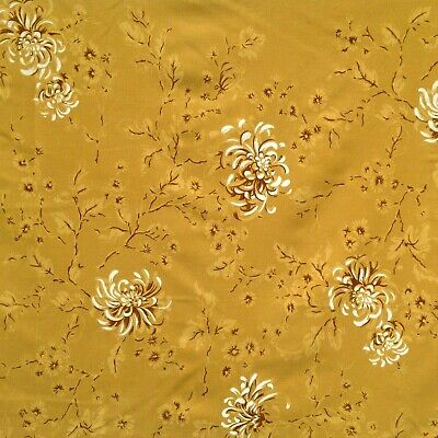 Vintage Cotton Tablecloth Mid Century Printed Gold Brown Floral CA Hand Prints