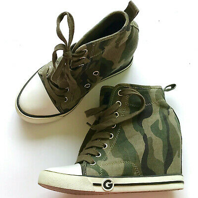f6277dc7b0fe4 G BY GUESS Green Camo Womens Majestey Wedge High-Top Sneakers Lace-Up Shoes