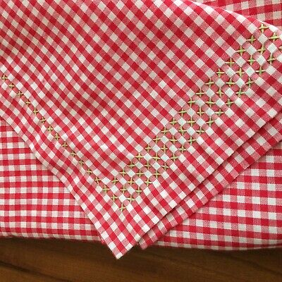 """UNUSED Vtg tablecloth red white petite gingham embroidered  68X43"""" FARM COT CHIC"""